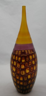 <p>Stunning 13.5&quot; hand blown bottle vase by Adriano Dalla Valentina, dated 2003.&nbsp; In excellent condition.</p>