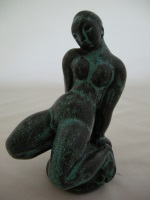 <p>Stunning 7.5&quot; verdigris earthenware sculpture by Kai Nielsen for Herman Khaler, circa 1922, Denmark. In excellent condition.</p>