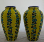 <p>Stunning pair of 13.5&quot; craquele high gloss enamel vases designed by Charles Catteau for Boch Freres Keramis, D 815, F267, 1923.&nbsp; In excellent condition.</p>