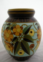 <p>Monumental matte enamel 13.75&quot; vase from Boch Freres Keramis, D1847, F951, 1934. In excellent condition with just a few glaze pops. We are unable to identify the initials of the designer.</p>