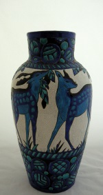 <p>Stunning 16.25&quot; Boch Freres Keramis vase designed by Charles Catteau in 1924, D943, F 762.&nbsp; A minor glaze skip in the making.&nbsp; In otherwise excellent condition.</p>