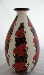 <p>Rare prototype 12.5&quot; vase designed by Leon Lambillotte for Boch Freres Keramis, D1065, F960, signed and dated 1926.&nbsp; In excellent condition.</p>