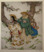 <p>Stunning large format hand colored etching by Elyse Lord, &quot;Spring-time&quot;, 36/75, circa 1920s. In excellent condition.&nbsp; Framed size is 21&quot;by 24&quot;.</p>