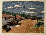 <p>Rare woodblock print by Kiyoshi Saito, &quot;Otaru Hokkaido&quot;, 47/80, 1948.&nbsp; The use of Pointillism is not often seen in Saito's work and its use in this early woodblock suggests that he was experimenting with different styles. This time to great effect.&nbsp; In excellent condition.&nbsp; The framed size is 29.5&quot;by 24&quot;.</p>