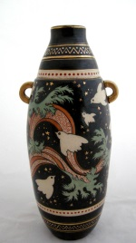 <p>Whimsical 14.5&quot; stoneware vase designed and signed by Emile Lombart for Saint Ghislain, circa 1920-1930. In excellent condition.</p>