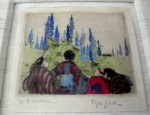 <p>Rare one of a kind hand colored etching by Elyse Ashe Lord, circa 1920s.&nbsp; Inscribed to G. Brochner, our etching of a family, measures 4 1/4&quot;by 4 1/4&quot; in a 10.50&quot; linen matted frame. In excellent condition. Pencil signed.</p>