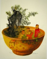 <p>Whimsical watercolor by rising Chinese artist, Zheng Jianhui, &quot;Bowl No. 5&quot;, 2015. In excellent condition.&nbsp; Framed size is 19&quot; by 16&quot;.</p>