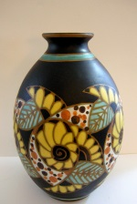 <p>Exceptional art deco 12&quot; vase, D 1084, F 975 designed by Leon Lambollitte and Charles Catteau for Boch Freres Keramis in 1927.&nbsp; In excellent condition.</p>